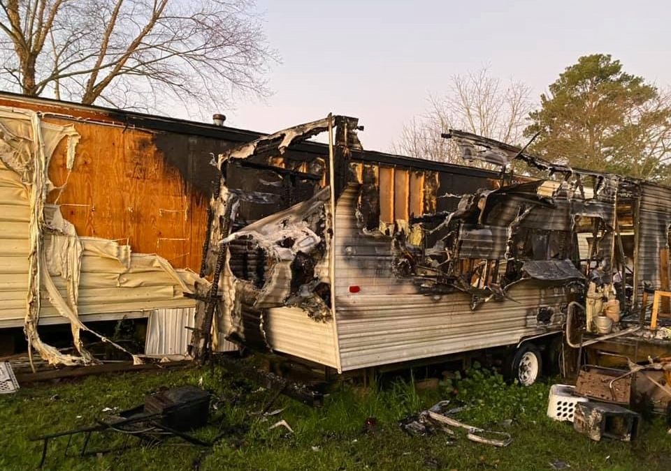 Picture of camper burned in electrical fire.